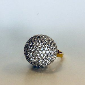 Rhodium Silver CZ Ball Gold Plated Ring
